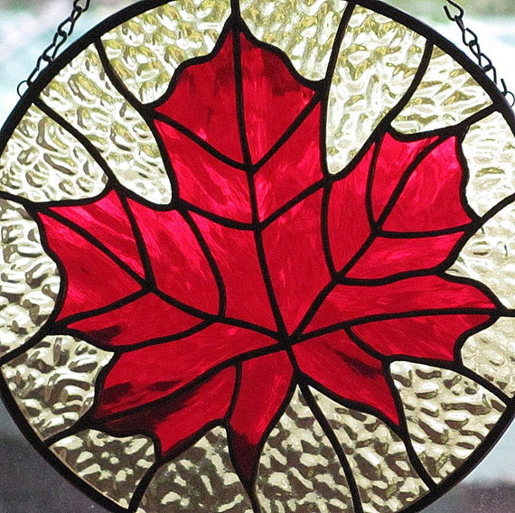 Stained Glass Red Maple Leaf Suncatcher Sale