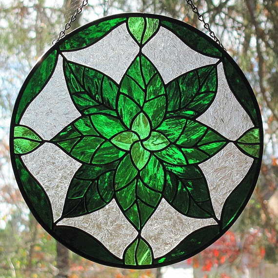 Stained Glass Suncatcher Geometric Green Leaves