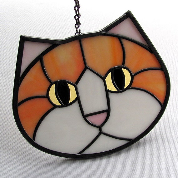 Stained Glass Cat Face Suncatcher Orange White Amber Eyes