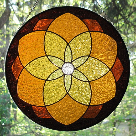 Amber Stained Glass Geometric Star Mandala Suncatcher