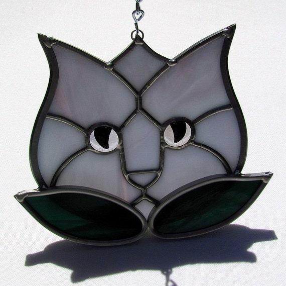 Lavender Stained Glass Tulip Kitty Cat Suncatcher