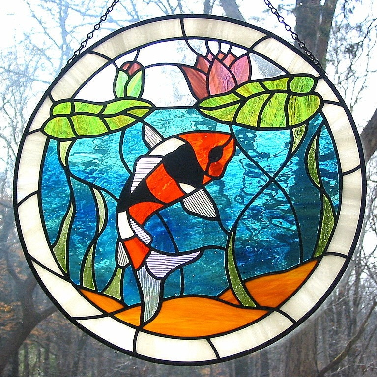 Orange black and white koi fish stained glass suncatcher with for Koi pond glass