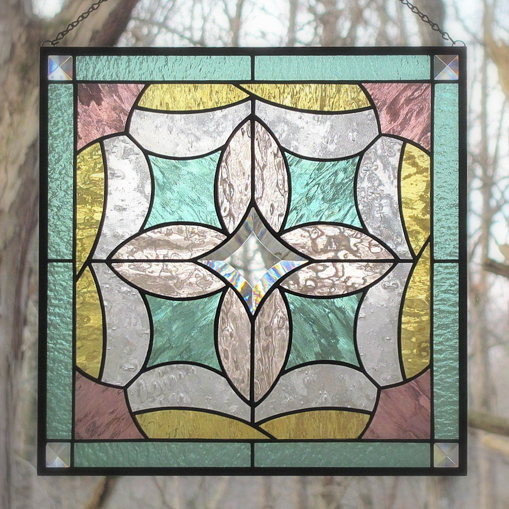 Stained Glass Panel Beveled Hanging Pastel Colors