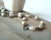 White Pearl Necklace - Frost. Oxidized Sterling Silver Wire Wrapped Bridal Jewelry Pearl Jewelry Weddings Gifts Under 100