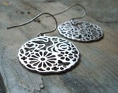 Silver Floral Earrings Metalworked Holiday Jewelry Asian Style Zen Large Discs Flower Jewelry Gifts Under 30 Modern Bridesmaid