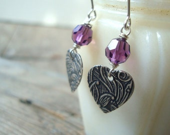 Purple Crystal Heart Earrings Valentines Jewelry Silver Heart Jewelry Gifts Under 30 Romantic Gifts Bridesmaid Jewelry Bridal Earrings