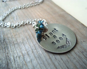 Plant a Seed Necklace. Hand Stamped Sterling Silver Jewelry Earth Day Flower Jewelry Nature Inspired Gardening Mothers Day Jewelry