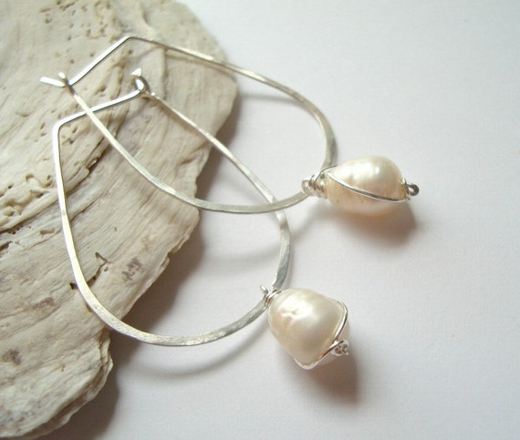 Hammered Sterling Long Hoops - White Pearl - Modern Bridal Jewelry Spring Fashion June Birthstone Metalwork Wire Wrapped Gifts Under 50