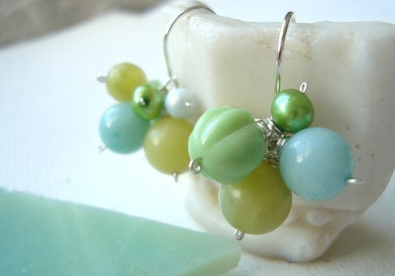 Cluster Earrings - Mixed Greens. Aqua Aventurine Lime Pearl Spring Bridesmaid Jewelry Gifts Under 40 Mothers Day Gemstone Vintage Glass