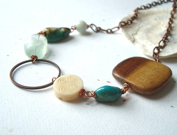 Earth Elements Necklace - Copper, Wood,Turquoise and Serpentine