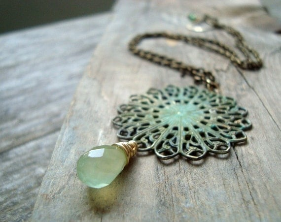 Patina Brass Filigree Pendant Necklace with Prehnite Mint Green Shabby Chic Jewelry Spring Fashion Brass Jewelry Statement Necklace