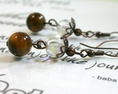 Tiger Eye and Clear Glass Dangle Earrings