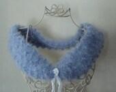 Womens Shawl Popcorn Fur Stole Blue Lavender Italian Yarn Teen Womens