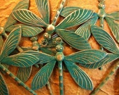 Dragonfly Charm - Verdigris Tropical Dragonfly Charm - 1 Large