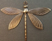 Dragonfly Charm - 1 pc - Large Hand Antiqued Brass - Patina Queen