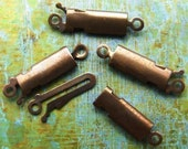19mm Box Clasps - Rectangle Hand Antiqued Solid Brass - Patina Queen - 4