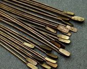 22g Brass Paddle Headpins - 2 inch - Hand Antiqued Solid Brass - Patina Queen - 20