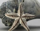 Starfish Charm - Brass - Aged White Patina - Nautical Charms -  Shell Charms - Beach Charms - Patina Queen - 1 pc