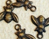 Brass Bee Charms - 12 pcs - Teenie Tiny Hand Antiqued Brass - Patina Queen