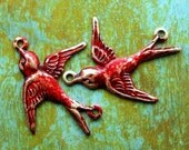 Connector Bird Charms - Rustic Red Brass Patina Swallows - 2