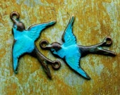 Aged Teal Swallows - Double Ring Connector Bird Charms
