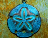 Teal Sand Dollar Charm - 1 pc - Aged Verdigris Brass - Large - Nautical Charms - Beach Charms - Patina Queen