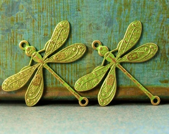 Dragonfly Connector Charms - 2 pcs - Brass Dragonfly - Lime Green Patina - Patina Queen