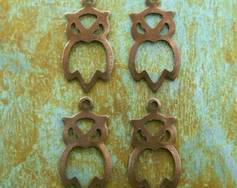 Owl Charms - Hollow Antiqued Brass Hootie Owl - 4
