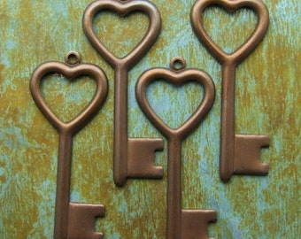 Heart Key Charms - 4 pcs - Antiqued Brass Charms - Valentine's Day - Patina Queen