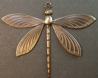 Dragonfly Charm - Hand Antiqued Brass - Patina Queen - Large