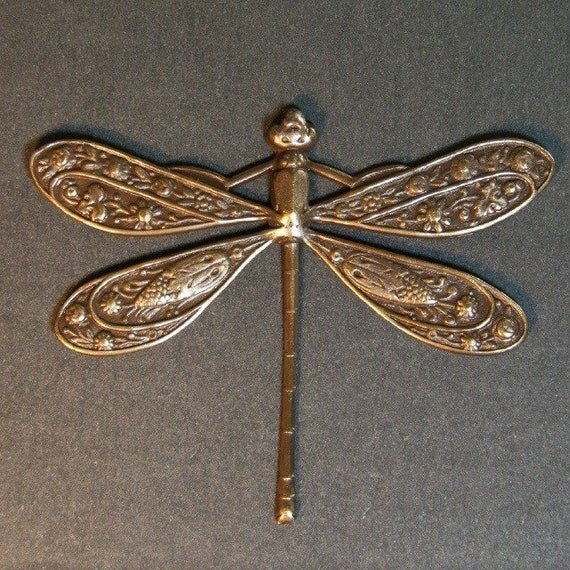 Dragonfly Charm - 1 pc - Large Hand Antiqued Brass Dragonfly - Patina Queen