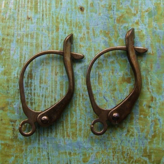 Six PAIRS Locking Brass Leverback Earwires - Hand Antiqued