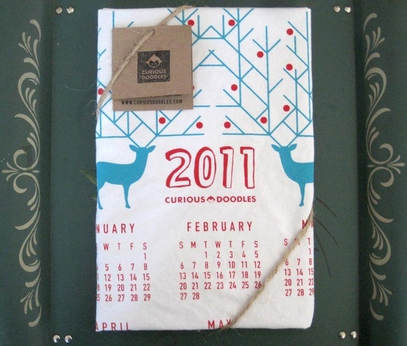 Clearance 2011 Holiday  Screen Printed Deer Organic Calendar Tea Towel  Free Shipping