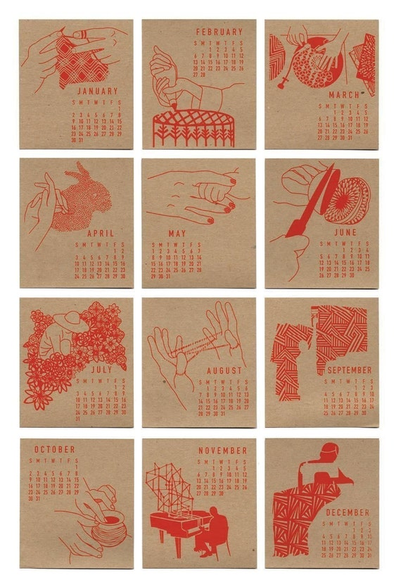 2011 Hooray Hands SCREEN PRINTED DESK CALENDAR Free Shipping