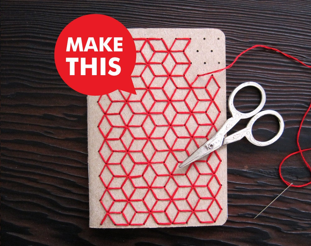 Embroidered Book Cover Diy : Diy geometric pocket notebook embroidery kit set of two