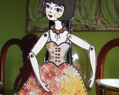 Original Fully Assembled Articutlated Audrey The Brunette Paper Doll