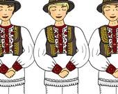 Croatian Folklore Dancers - Three Dancers