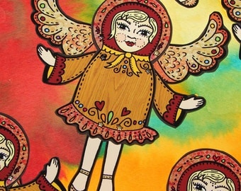 Original Fully Assembled Articutlated Angel Matryoshka Paper Doll
