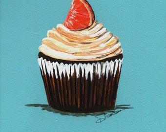Chocolate Orange Cupcake Painting Print
