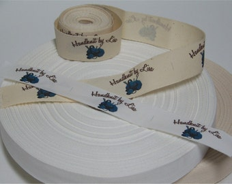Your Custom Labels Printed in Full Color on Organic Cotton Twill Ribbon  - LOTS of Designs - No Extra Charge for Proof - 8 Yards