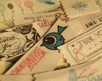 Your Custom Labels Printed in Full Color on Organic Cotton Twill Ribbon  - LOTS of Designs - No Extra Charge for Proof - 2 Yards