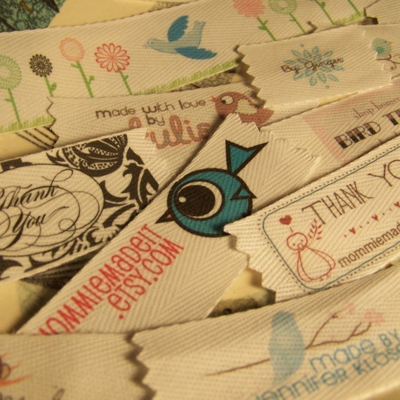Your Labels Printed in Full Color on Cotton\/Hemp Twill Ribbon - 100 Labels for this One Price - Free Design and Proof