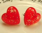 SALE -- Red Heart Stud Earrings