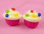 Pink Cupcakes With White Frosting Stud Earrings