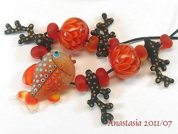 GLOWING REEF...handmade lampwork beads by Anastasia...SRA...