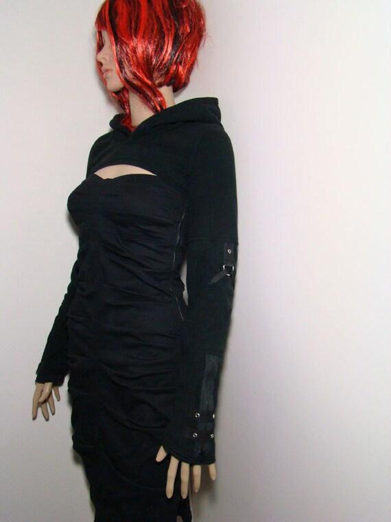 HOODED SHRUG black micro fleece industrial black zippers metal d-rings grommets