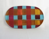Wood Tray - Big Oval Checked tray -   Red, Orange  Blue serving tray - Swedish Design - country home decor