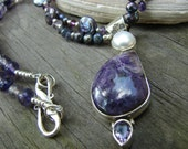 Charoite Necklace with Amethyst and Pearls