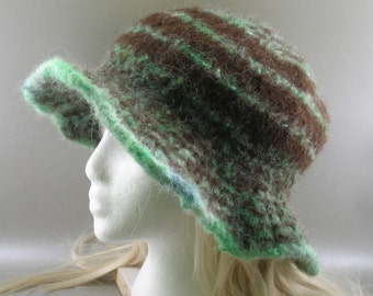 ELEGANCE in  MINT CHOCOlate CHIP -Woman's  Floppy brimmed hat - 100%  Alpaca - handspun, hand knit,  hand felted.