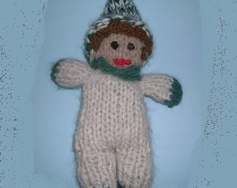 TAFFY  GNOME  doll  pixie  elf  Waldorf 100 percent  Handspun Hand knit  ALPACA - even the stuffing - bell at tip of hat